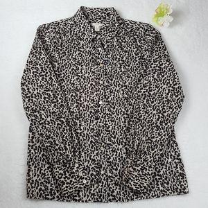 J. Crew Women's Leopard Print Button-Down Shirt